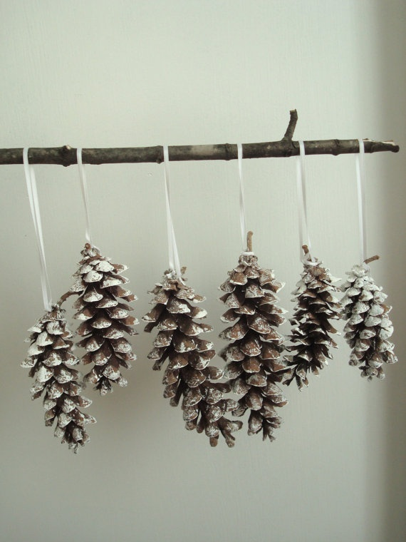 white, silver, or gold glitter :) tree ornaments? or hung to create a garland over the fireplace?