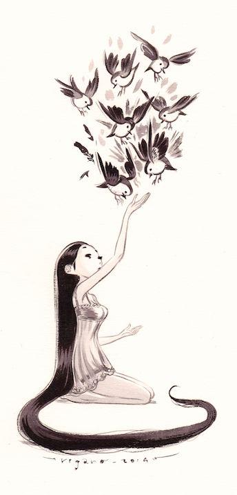 Mädchen im Kniesitz ... lange schwarze Haare ... verträumt ... streckt Arm aus .. Vögel fliegen auf Hand zu