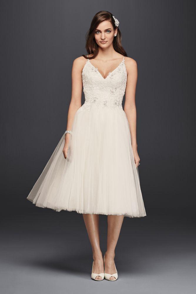 Extra Length Tulle Melissa Sweet Criss Cross Back Short Wedding Dress - Ivory, 12