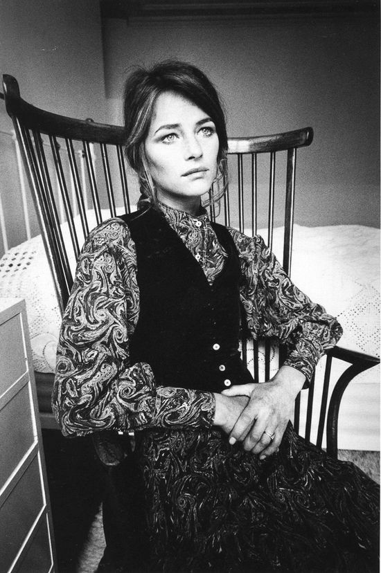 Charlotte Rampling photographed by Jeanloup Sieff wearing Yves Saint Laurent in Paris. Vogue France, 1970