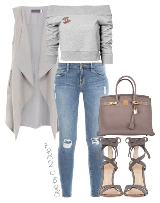 """""""Untitled #3283"""" by stylebydnicole ❤ liked on Polyvore featuring Mint Velvet, Frame Denim, Gianvito Rossi, Estradeur, Chanel and Hermès"""