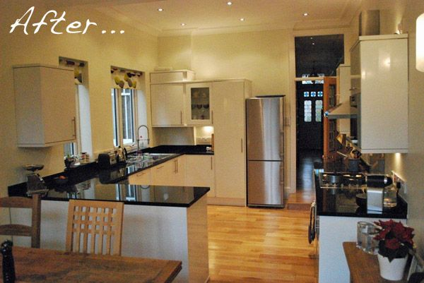 A Before and After modern Edwardian kitchen make-over with granite worktops, white gloss cupboards, wooden floor and period features.
