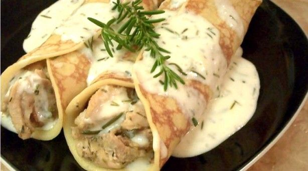 Herbed Chicken Crepes with Fresh Rosemary Cream Sauce. oh. my. gosh. huge success! and I have used the crepes recipe for fruit crepes, too