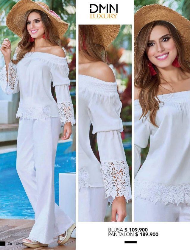Dominio Y Wom Campanas 08 09 2018 Blusas Blancas De Vestir Pantalones De Moda Mujer Ropa De Moda