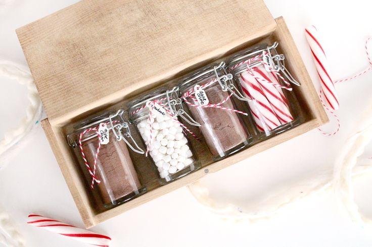 DIY coffee stained gift box with cocoa kit for two.