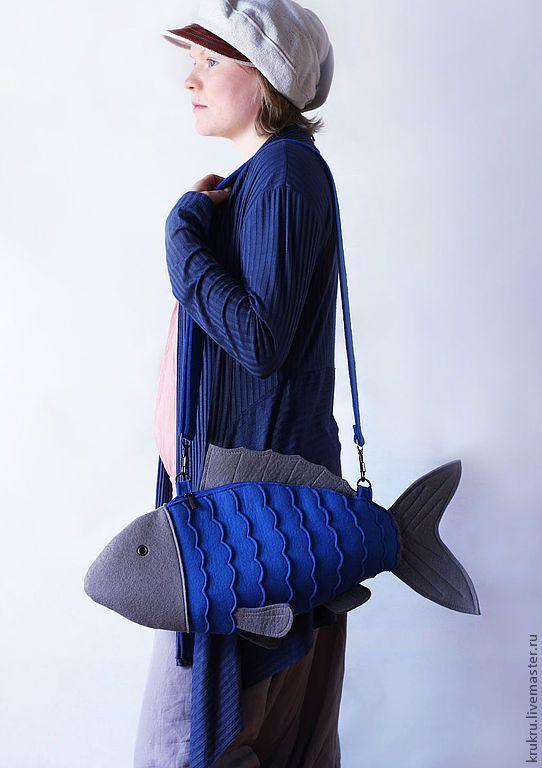 Blue Felt Fish Bag Fish Purse by krukrustudio on Etsy