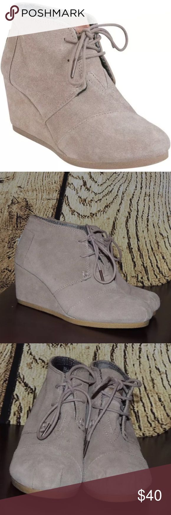 TOMS desert wedge taupe suede ankle booties I am selling these super cute and trendy TOMS desert wedge taupe suede ankle booties! Size 6.5! Worn a few times but still in good used condition, a few dirty marks (see pictures) that could easily be cleaned with a suede shoe cleaner!! I always get so many compliments when I wear these!! TOMS Shoes Wedges