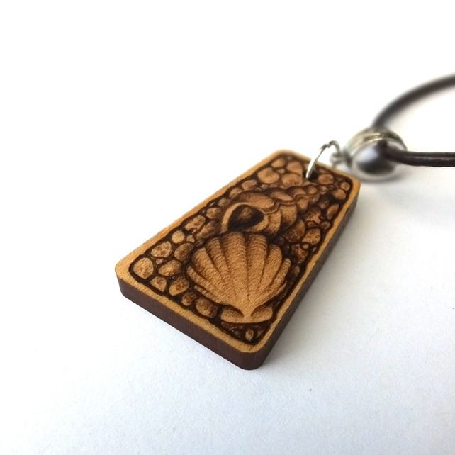 Seashore Treasures Wooden Pyrography Necklace Pendant