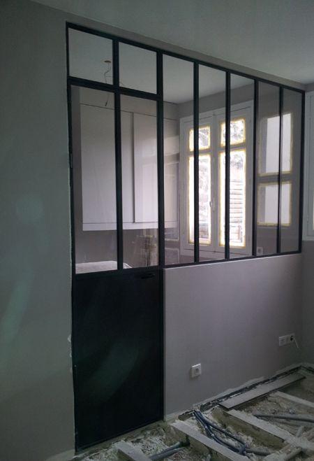 Porte OF avec imposte fixe et verrière 5 vitrages