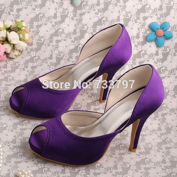(42.30$)  Watch now - http://aietl.worlditems.win/all/product.php?id=1219501542 - Wedopus MW336 Ladies Satin High Heeled Purple Bridesmaid Shoes Open Toe
