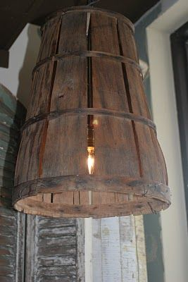 Old Bushel Basket Turned Light~DIY