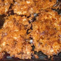 Baked Chicken - skinless, boneless breasts marinated in a season sour cream mixture then coated with crushed cornflakes seasoned with onion soup mix.  This would also be a great recipe to use with pork chops or fish.