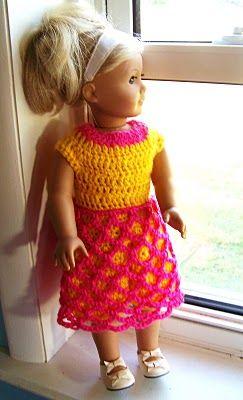 August Bliss fishnet dress, American girl dolls, FREE crochet pattern