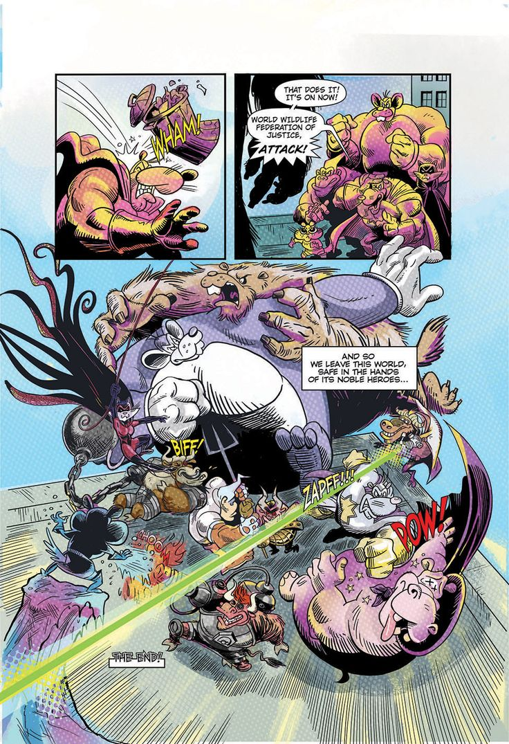 """9th and final page of """"Eye Eye Eye"""" comic written by Ian """"Simpsons"""" Boothby, drawn by Toren Atkinson, colors Tanya Lehoux, letters Christopher Barrett"""