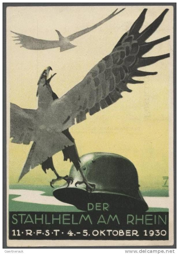 11th meeting of The Steel Helmet on the Rhine - League of Front Soldiers (RFST), October 4-5, 1930. Artist: Ludwig Hohlwein. Published 1930.