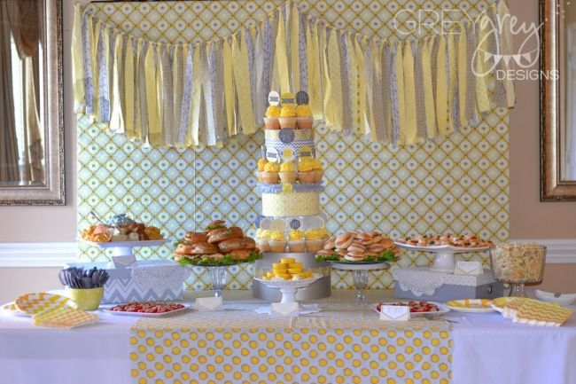 boy's yellow and grey baby shower dessert table www.spaceshipsandlaserbeams.com