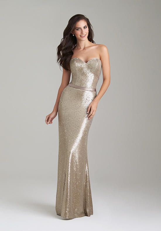 Gold and sequined a-line silhouette gown with sweetheart neckline | Allure Bridesmaids | https://www.theknot.com/fashion/1471-allure-bridesmaids-bridesmaid-dress
