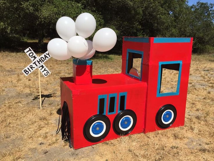 """Tommy's """"Chugga Chugga Two Two"""" Train birthday party. DIY cardboard train!"""