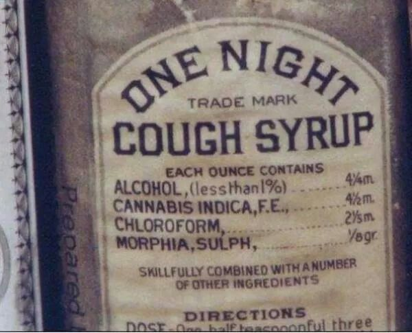 """Vintage Cough Syrup Bottle. The name should be """"Your Last Night"""" syrup. Or....""""You're No Longer Coughing Because You Are Dead"""" syrup, lol !"""