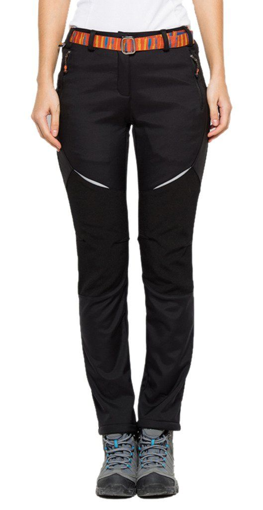Geval Women's Windproof Waterproof Softshell Fleece Ski Pants(Black65,XXS). Surface layer water repellent breathable coating,Mid layer high-end fiber fabric,inner layer polar fleece. Windproof soft shell. Stereo line cutting,zipper closure. Slim fit and elastic wear. Great for Winter outdoor sports like camping,hiking,climbing,skiing,cycling.