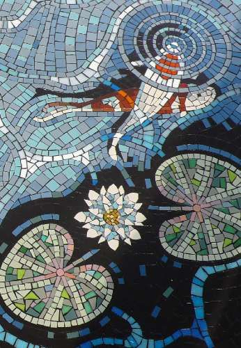 Koi mosaic, close up. Note to self: if I ever do this, make the lotus flowers or the ripples mother of pearl.