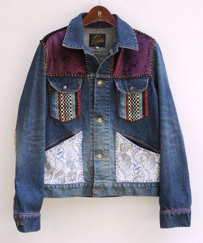 needles patchwork jean jacket