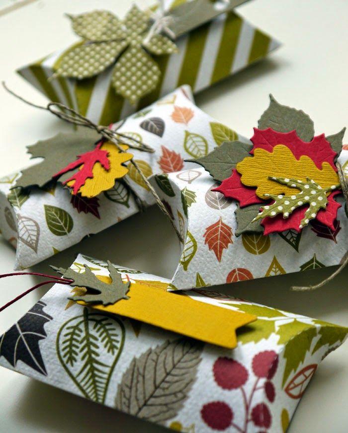 Bltenstempel Herbstlaub Pillow BoxWrapping IdeasGift 847
