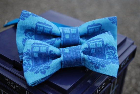 Doctor Who  Tardis hair bow and bow tie  by TheDirectorsCabin, $24.00