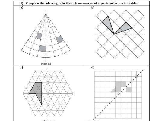 Reflection - Geometry - Position of shape - KS2 - WORKSHEET ONLY HA - MA
