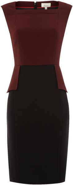 Stretch Woven Peplum Colourblock Dress - Lyst