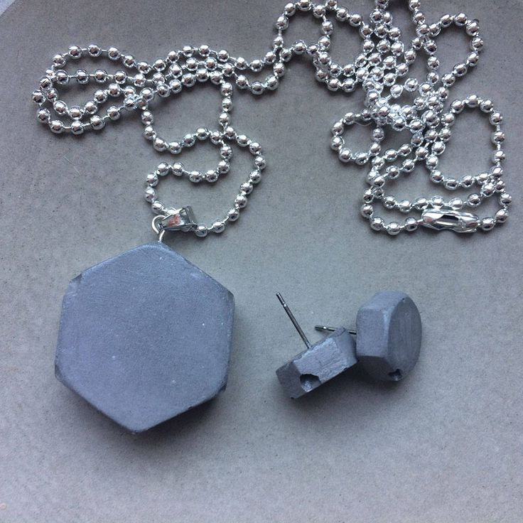 Original CONCRETE jewelry minimalistic industrial set HEX nuts (pendant + earrings) handmade by Aludana, gift for her, Charm jewelry set by ConcreteByAludana on Etsy
