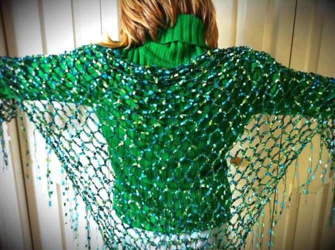 Peacock Ribbon Shawl Pattern | Ariadne's Muses Spinning,Yarn and More