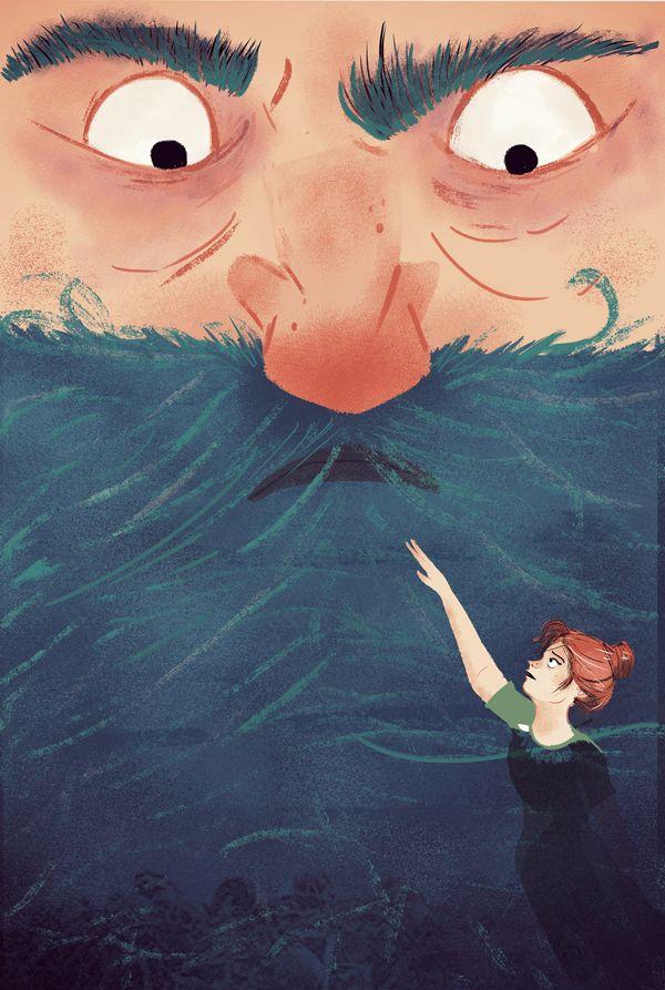 Blue Beard Illustration for Fixionaria by Juliana Cuervo, via Behance