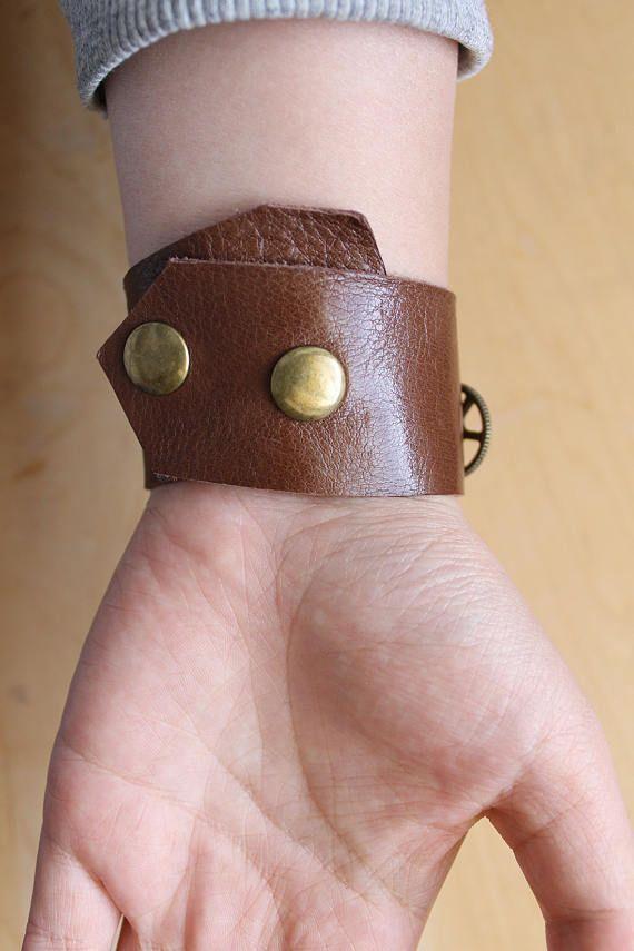 Handmade real leather unisex length adjustable steampunk