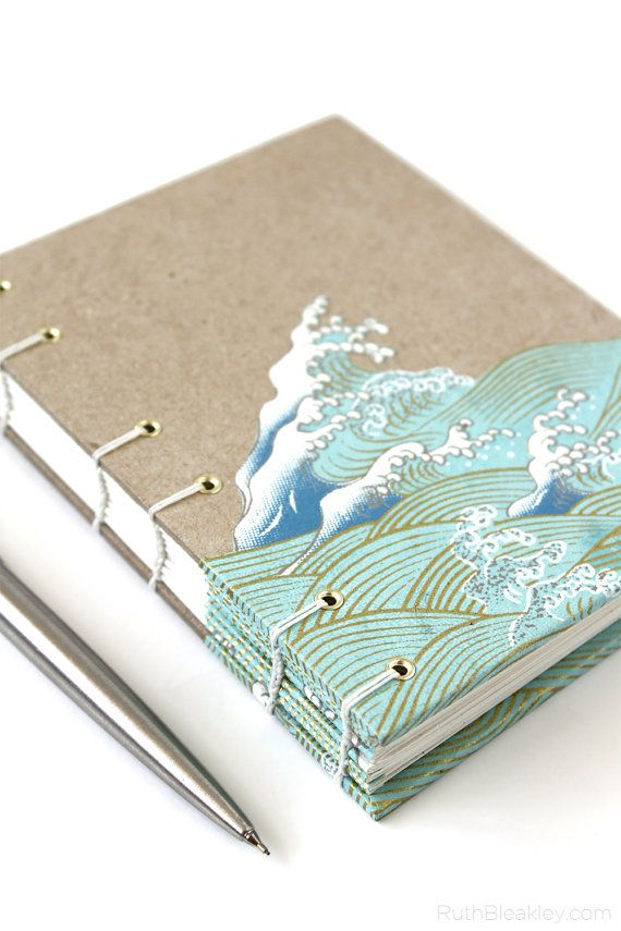 Handmade Journal with Waves papercut by Ruth Bleakley