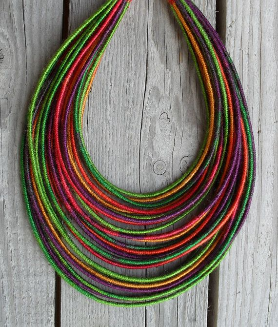 Bright Autumn yarn-wrapped necklace / tribal / by MARISCAPES