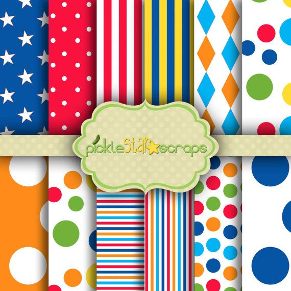 Printable Craft Carnival Papers Circus by PickleStarScraps on Etsy