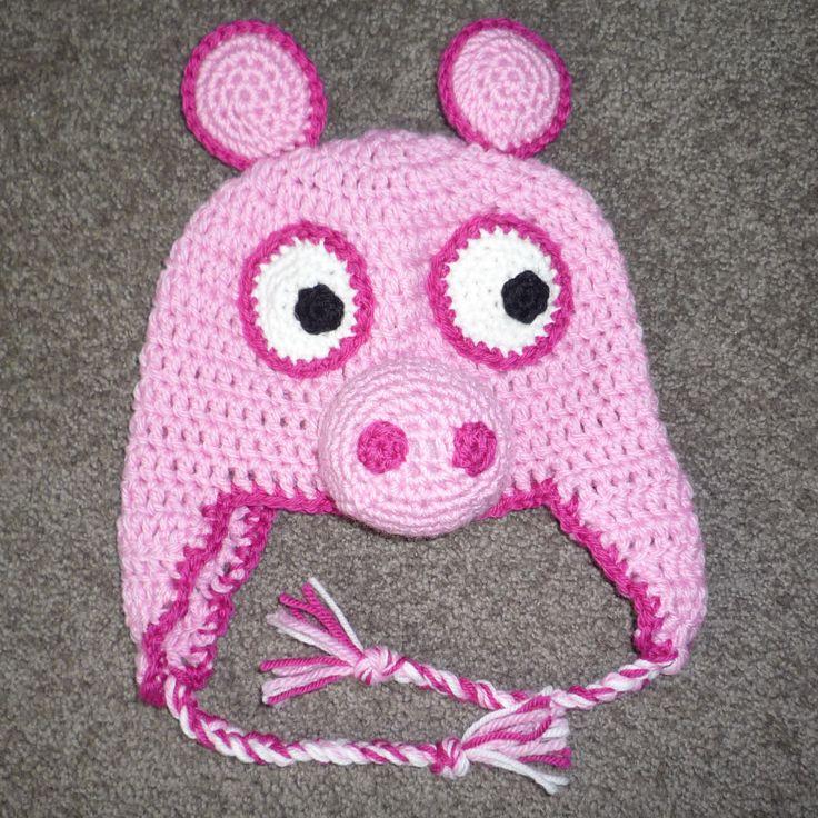 Free Crochet Baby Pig Hat Pattern : Peppa Pig Crocheted Hat Patterns, Peppa pig and Crochet
