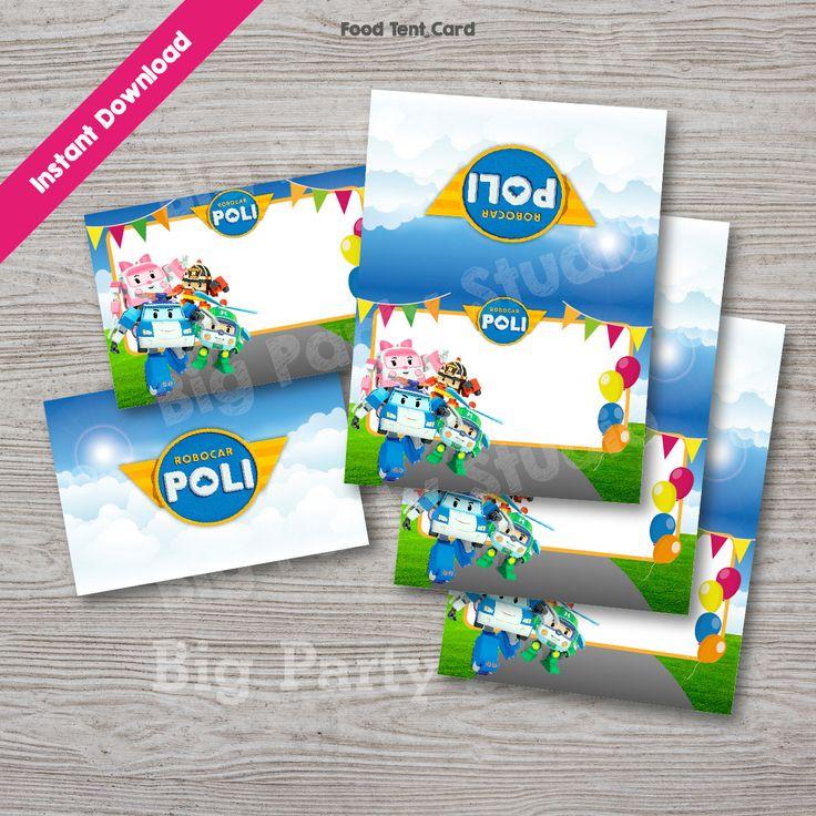 Robocar Poli Food Labels, Robocar Poli Food Tags, Food Tent Card, INSTANT DOWNLOAD, Printables, Digital files, DIY party personalize & Print by Bigpartystudio on Etsy