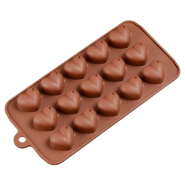 Silicone Chocolate Mould Double Heart Valentine Jelly Ice Cube Soap Candle Tray