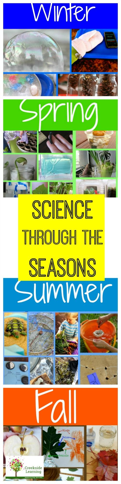 awesome science activities for preschool and elementary school for winter, spring, summer and fall.