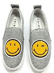 Smile Grey Jersey Slip-On Sneakers