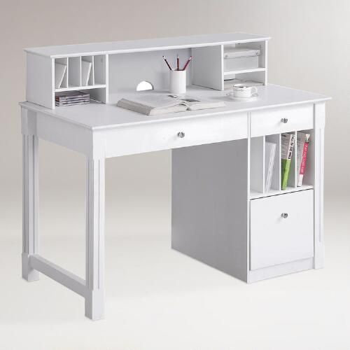 One of my favorite discoveries at WorldMarket.com: White Wood Clara Desk with Hutch