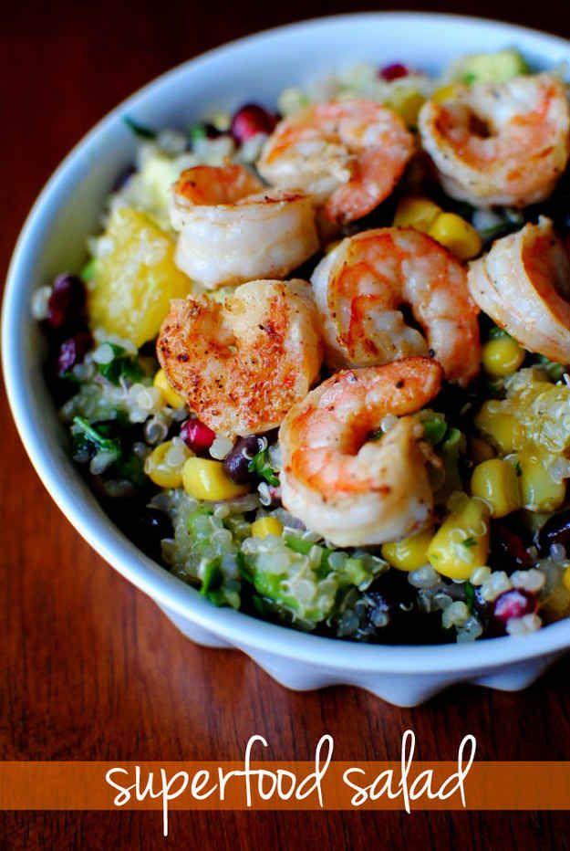 Superfood Salad with Lemon Vinaigrette and Shrimp - 19 Healthy Quinoa Lunch Recipes #salad #health