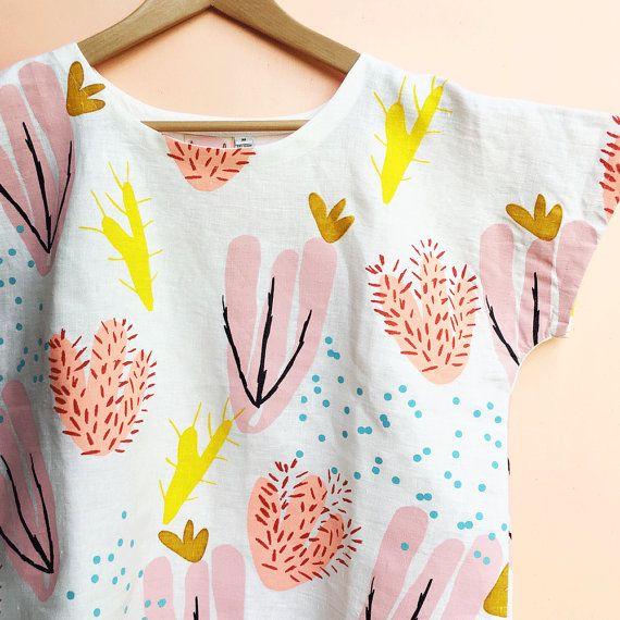 Screen Printed Ladies Cactus Bloom Pink Garden by DoopsDesigns