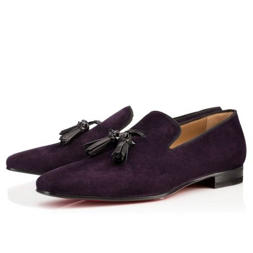Dada Flat in deep purple/aubergine suede by Christian Louboutin