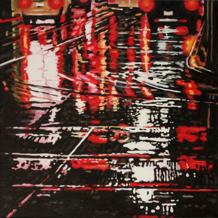 """Parallels II - oil on canvas, 24 x 24"""" (60 x 60 cm) - rainy streets at night with streetcar tracks"""