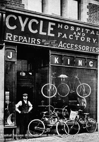 """afrormosia:    King's Cycle Shop, 73 Leeming Street, Mansfield, circa 1910.  D. Bradbury via Picture the Past.  (I love the way the sign says """"Hospital and Factory."""")"""
