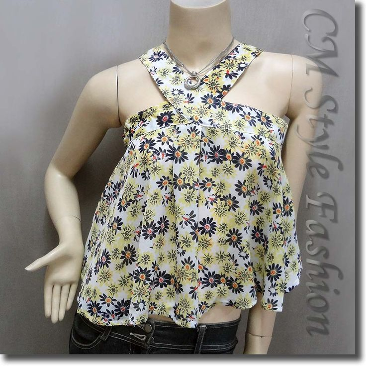 Cute Floral Babydoll Swing Camisole Blouse Top White Yellow Blue