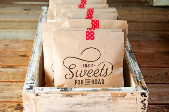 Kraft Paper Favor Bags - Sweets for the Road - Wedding, Shower, Party Favor - 20 Kraft Bags